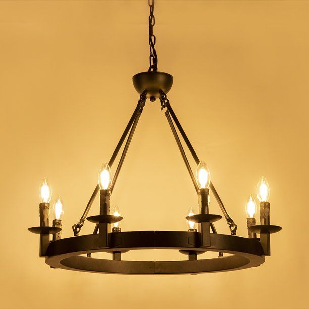 Wellmet Black Farmhouse Chandeliers Wagon Wheel Industrial 8 Lights Iron Lighting Candle Style 28 Rustic Hanging Ceiling Light Fixture Dining Room Kitchen Is In 2020 Hanging Ceiling Lights Farmhouse Light Fixtures