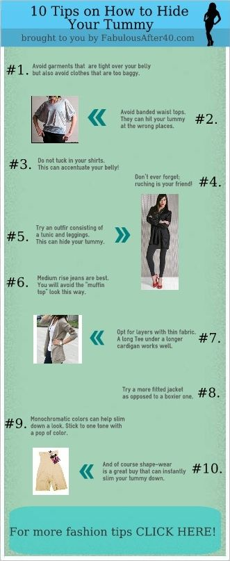 This infographic has 10 tips on how to hide your tummy!