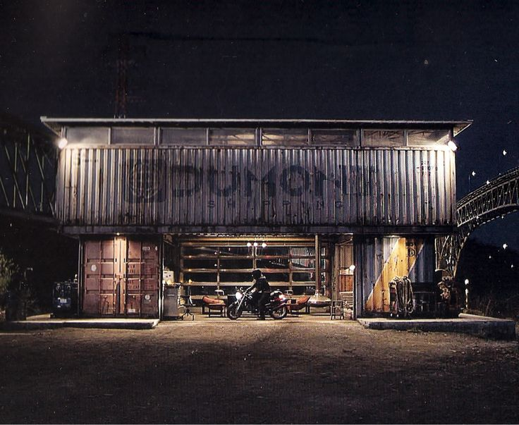 Shipping container could make for an innovative vintage garage feel.