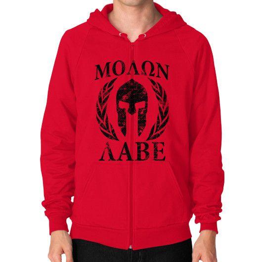 Molon Labe Spartan Trojan Helmet Laurels Molon Labe Spartan Trojan Helmet Laurels Zip Hoodie (on man)