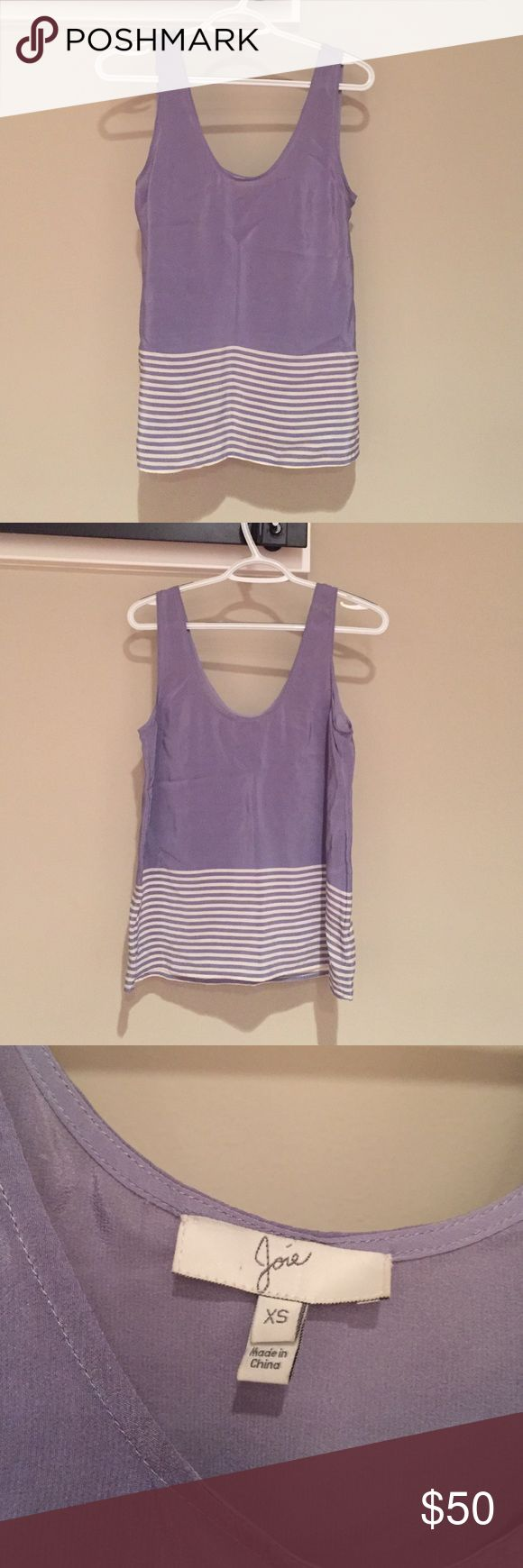 Joie Silk Tank Top Joie 100% silk tank top. Light purple with white horizontal line detail. Lightly used, great condition! Joie Tops Tank Tops