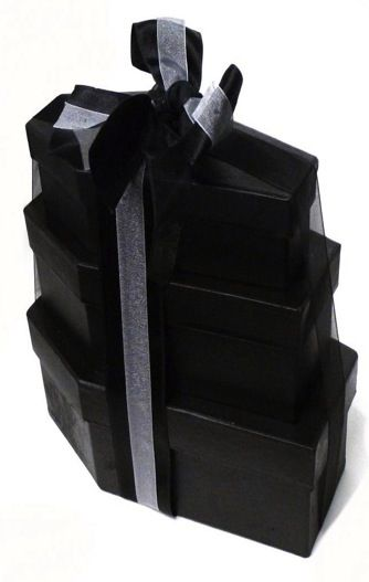PACK OF THREE COFFIN BOXES  (Ribbons Included)  SMALL  MEDIUM  LARGE      These sturdy Coffin Gift boxes are Great for filling with goodies as a lovely gothic gift basket.     DON'T BE SEEN DEAD WITHOUT THEM !