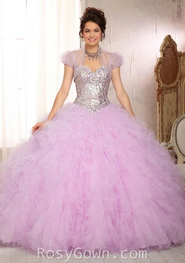 Beaded Strapless Sweetheart Ruffled Tulle Quinceanera Dress