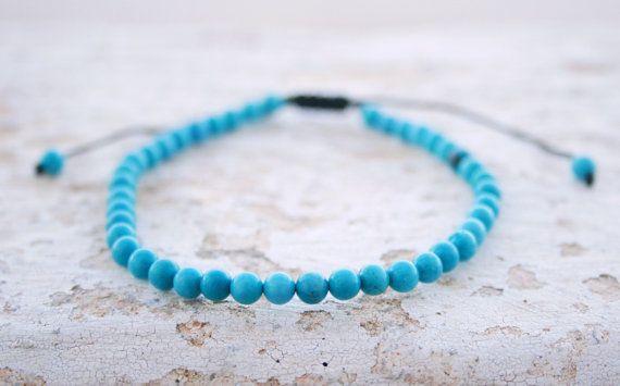 Turquoise Bracelet Men Bead Bracelet Men by SanguineJewelry
