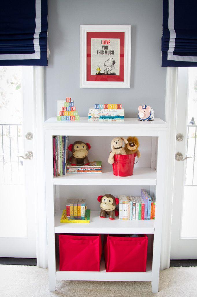 Roman shades in the nursery: Projects, Bookcases, Nursery Bookcase, Grey Nurseries, Pop, Boy Room