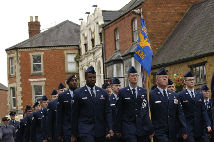 BANBURY, United Kingdom – Members of the 422nd Air Base Group march in formation during the annual Battle of Britain anniversary parade through the village of Banbury, United Kingdom, Sept. 15. The annual event pays tribute to servicemen who died in the Battle of Britain. (U.S. Air Force photo by Tech. Sgt. Chrissy Best)