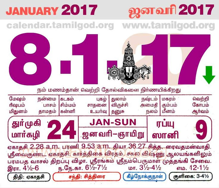 Tamil daily calendar for the day 08/01/2017
