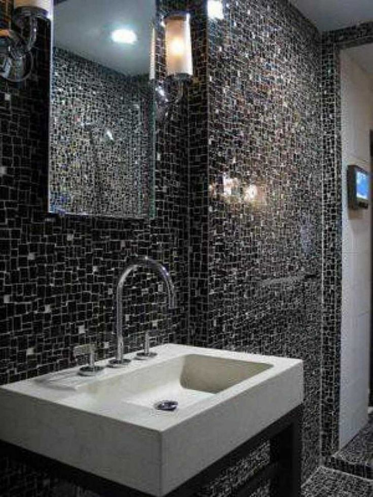 beautiful and simple designs mosaic tiles with dramatic black design floating sink as well lighting on