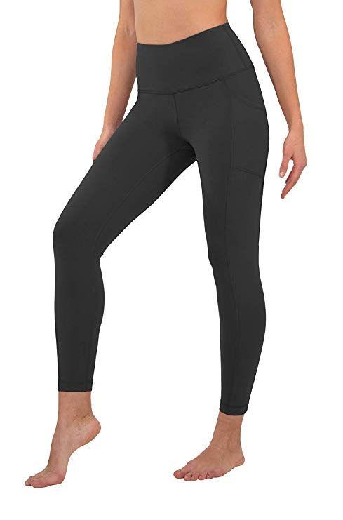 3f418bf2d5bdb amazon 90 Degree By Reflex High Waist Tummy Control Interlink Squat Proof  Ankle Length Leggings black