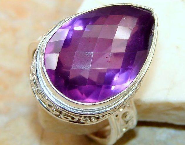 Zilveren edelsteen ring met Amethist steen