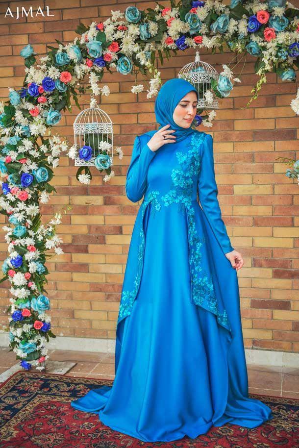 soiree-blue-hijab-dress- Beautiful hijab evening dresses