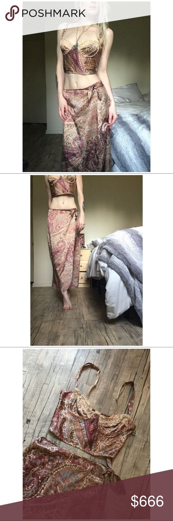 """VTG Boeheim Silk Skirt & Bustier Set /BUY1 GET1 + Excellent condition  + So soft and drapes beautifully (100% real silk) + Tagged as size MEDIUM- fits like size small (please refer to measurements)  + Top has been pinned to model to show ideal fit ( I have a 23"""" waist for reference)  TOP BUST: 30""""-34"""" (ELASTIC(   SKIRT WAIST:28"""" (can be adjusted to fit smaller)   Model is 5'5"""" and is a size XS+   PRICE IS FIRM  buy one get one FREE! Just add your likes to a bundle and I will offer…"""