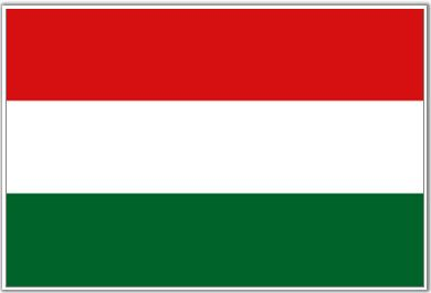 Hungary Flag - Three equal horizontal bands of (top) red, white, and green. The flag dates to the national movement of the 18th & 19th centuries, and fuses the medieval colors of the Hungarian coat of arms with the revolutionary tricolor form of the French flag. Folklore attributes virtues to the colors: red or strength, white for faithfulness, and green for hope.