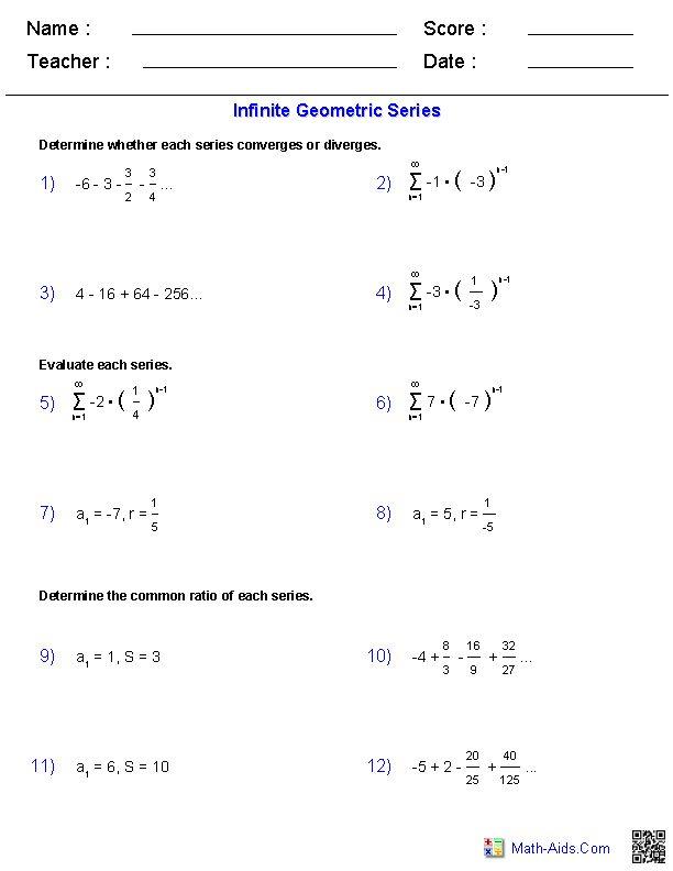 Infinite Geometric Series Worksheets