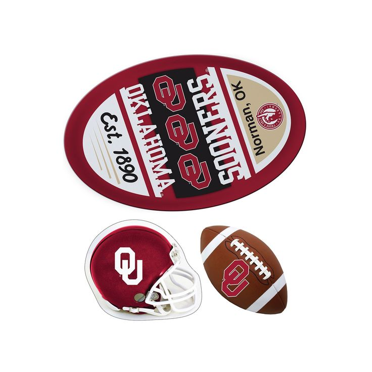 Oklahoma Sooners Helmet 3-Piece Magnet Set, Multicolor