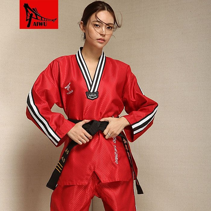 49.39$  Watch now - http://aliwye.worldwells.pw/go.php?t=32372693667 - high-end clothes children doboks Poomsae long sleeved clothing adult men and women Taekwondo 49.39$