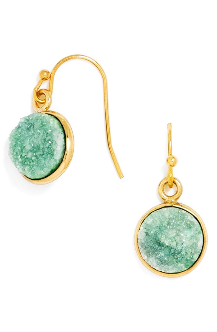 Bezelset Drusy Stones Twinkle In The Perfect Shade Of Turquoise Atop  Demure Drop Earrings That Impart Just The Right Amount Of Southwestern  Flair To Your