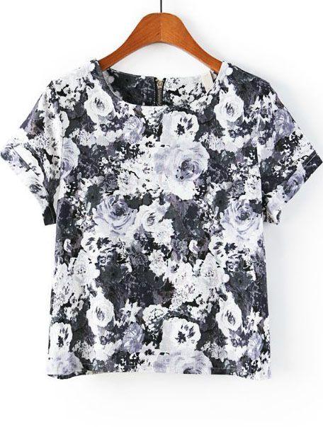 Grey Short Sleeve Zipper Floral T-Shirt - Sheinside.com