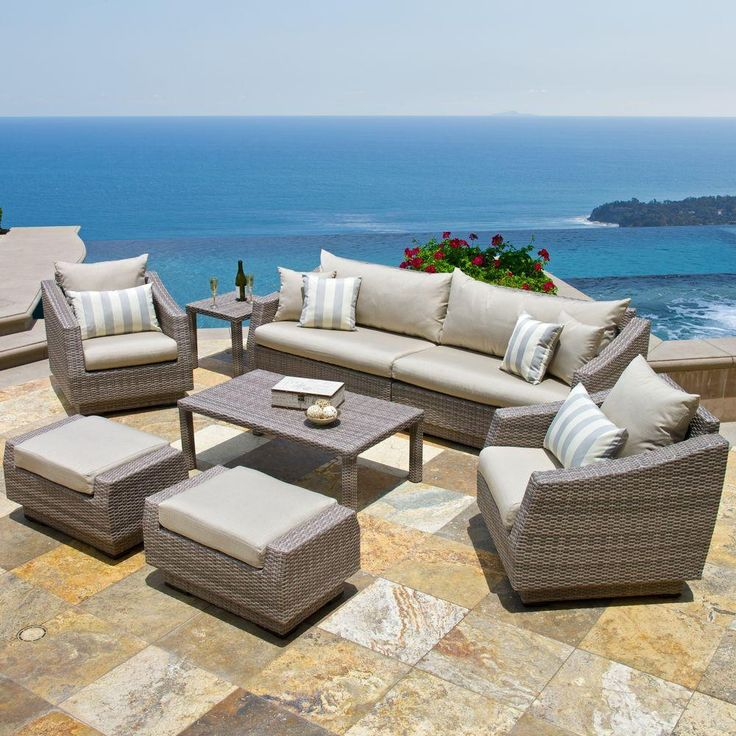 RST Brands Cannes 8 Piece Patio Seating Set With Slate Grey Cushions