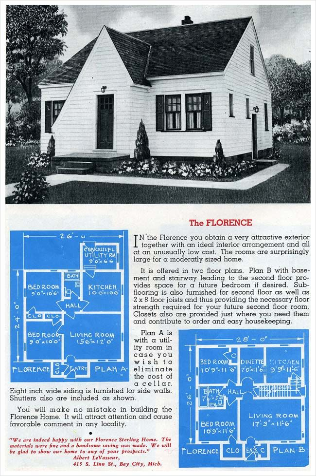 1945 Sterling Homes The Florence Vintage House Plans