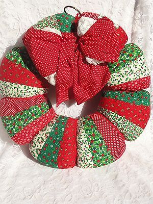 "Vintage Handmade 16"" Stuffed Wreath 1970s Folksy Fabric Print Soft Big Bow"