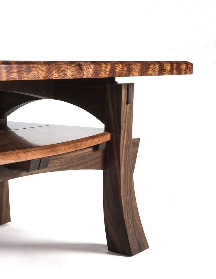 Detail, Curly Bubinga and Walnut Coffee Table