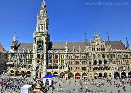 Площадь Мариенплац и Новая ратуша Мюнхена