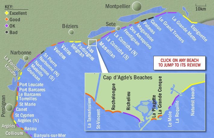 Information on the best beaches in Languedoc, south of France