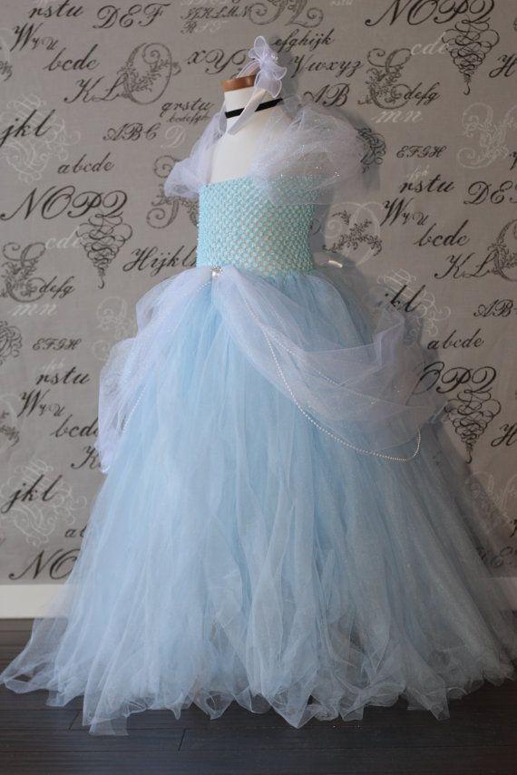 Cinderella Disney Princess Blue and White Tulle Tutu  Halloween Costume Dress Skirt Girls Baby Dress-Up Custom Crochet