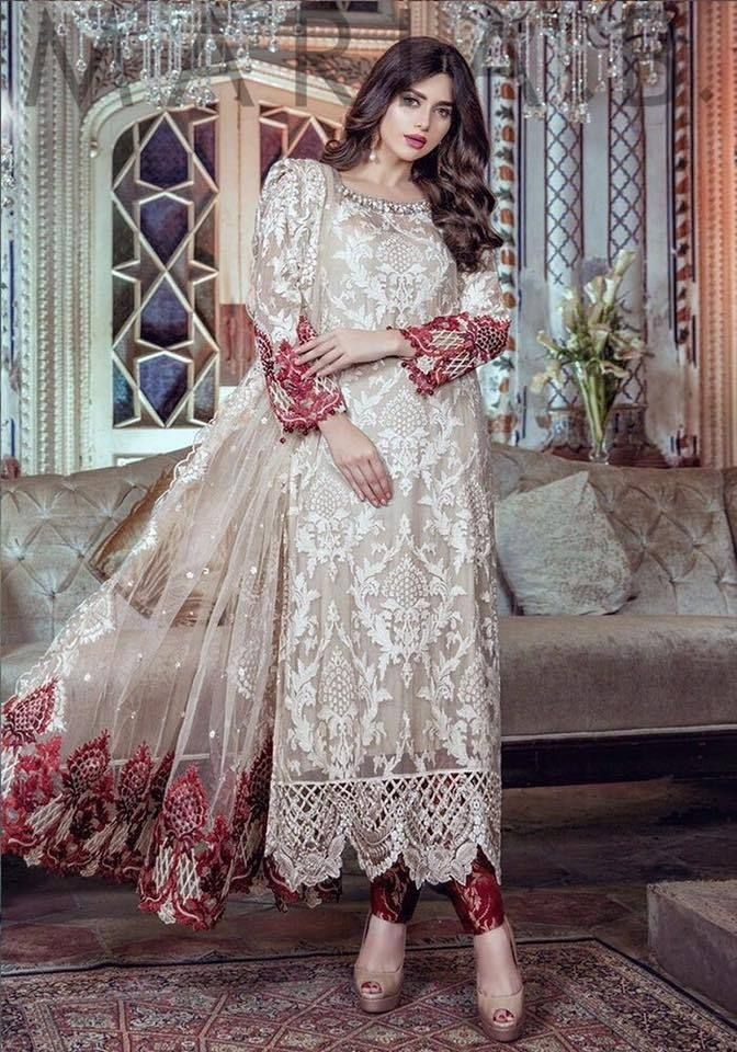 92aba353a5d Maria B Chiffon Embroidered Collection. Party Wear Dress. Delivery ...