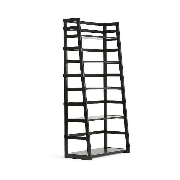 Acadian Ladder Shelf Bookcase Black ($190) ❤ liked on Polyvore featuring home, furniture, storage & shelves, bookcases, black, black bookcase, storage shelves, black storage shelves, book-shelves and storage shelf