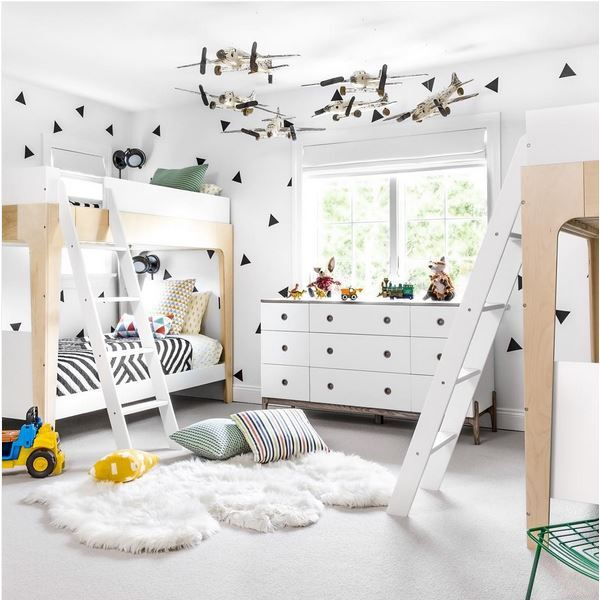 All-white boys room with bunk beds