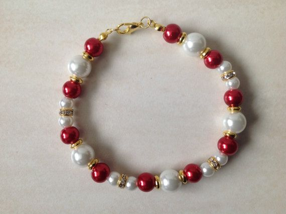 Red Glass Pearl and Gold Beaded Bracelet by EverGracefulGifts