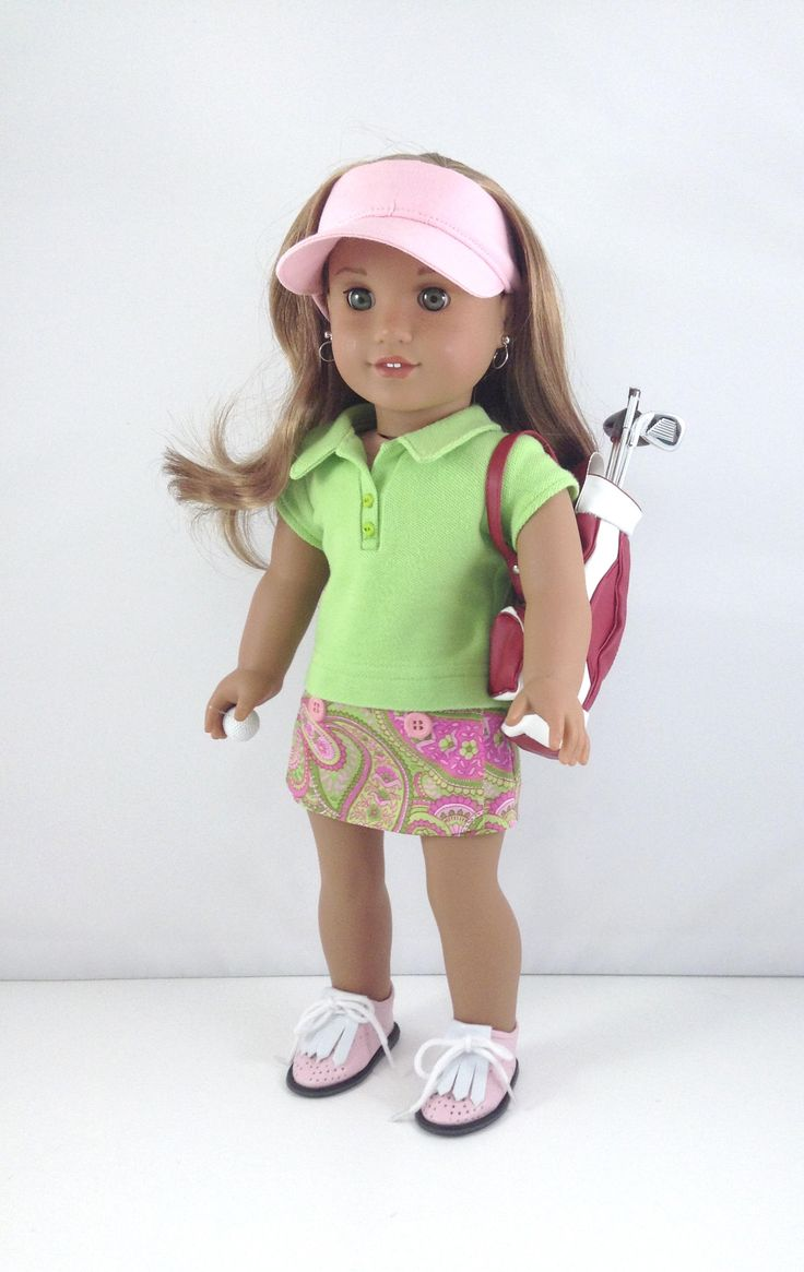 """18T Sportswear - Top, Skort, Visor, Golf Shoes, Bag, Clubs and Ball  for 18"""" Dolls like American Girl (R) Dolls like Lea, Kit and Grace by MjsDollBoutique18T on Etsy"""
