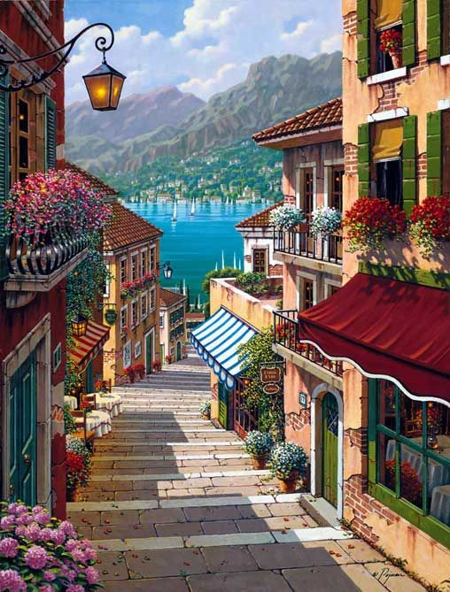 Bellagio Village - 26 x 20 or 40 x 30 Artist Embellished Giclee on Canvas