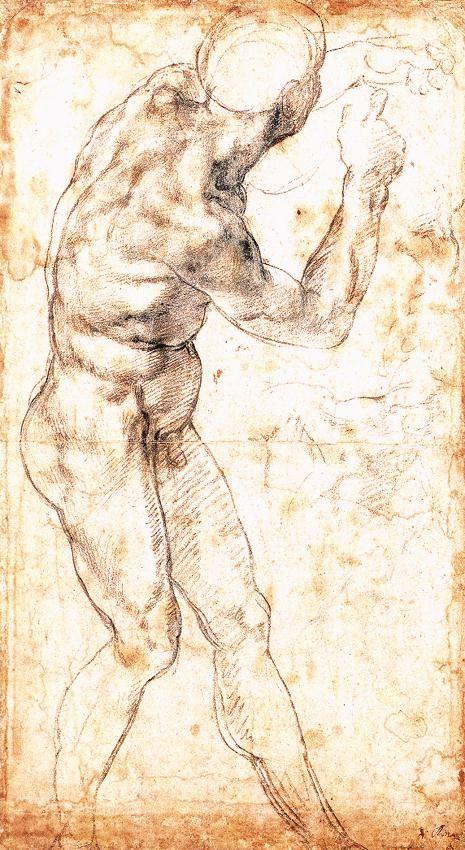 "Study to ""Battle of Cascina"" by Michelangelo Buonarroti  Size: 22.6x40.5 cm  Medium: chalk, paper"