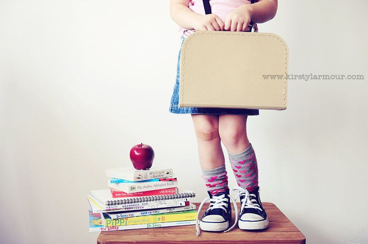 We LOVE these pics... but, you could re create these at home on the first day of school, your own memorable photo shoot!