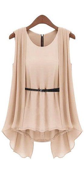 belted khaki chiffon blouse with an elegant drape #workwear #businesscasual #professonal #girlboss