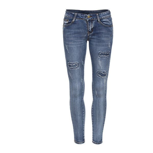 SheIn(sheinside) Blue Skinny Ripped Denim Pant (26 CAD) ❤ liked on Polyvore featuring jeans, blue, ripped jeans, long skinny jeans, blue jeans, destroyed jeans and stretch jeans