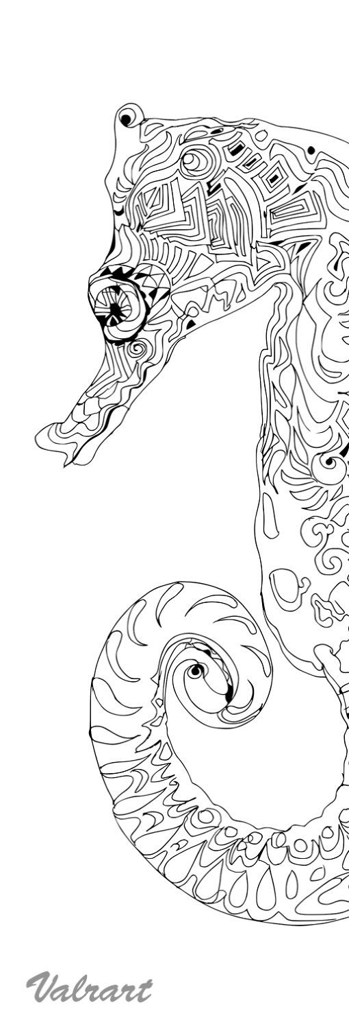 Coloring Pages Printable Adult Coloring Book Sea Horse Clip Art Hand Drawn Original Zentangle