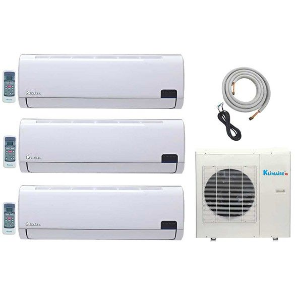 3-Zone Klimaire 16 SEER Ductless Multi-Split Inverter Air Conditioner Heat Pump with 16 Ft Installation Kit