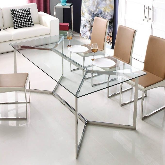 calabria stainess steel and glass dining table