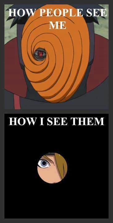 Effect of Tobi's Mask, literally, I made Tobi's mask and this is how I see! <---- I always wondered about that