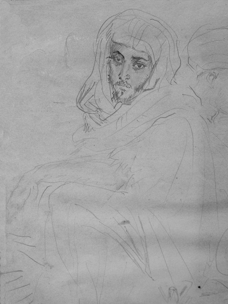 CHASSERIAU Théodore,1846 - Deux Arabes assis - drawing - Détail 18 - Homme assis, aux pensées tristes - Sad thoughtful seating man -