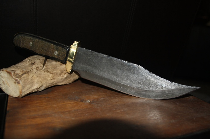 Handmade Damascus steel Bowie knife, natural buffalo scales, custom file work, hand tooled leather, plush lined case sheath.