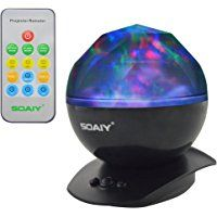 [UPGRADED] SOAIY Remote Aurora Projection Color Changing LED Night Light Lamp with Adjustable Timer and Speaker, Dimmable Baby Nursery Kids Night Lite, Projection Light, Mood Light (Black)