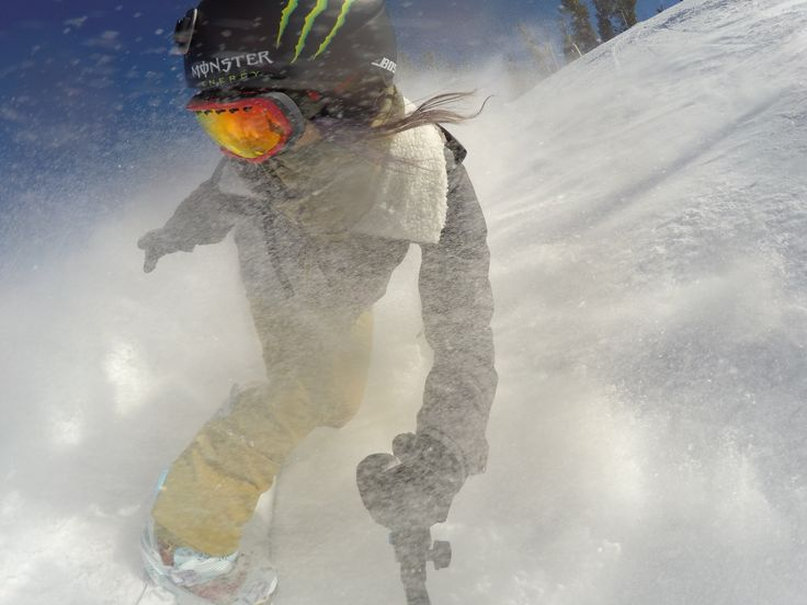Chloe Kim throws in a quick slash as she makes her way down the mountain. #GoProGirl