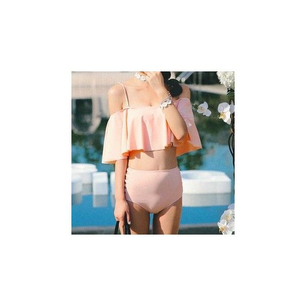 Frilled 2-piece Swimsuit ($22) ❤ liked on Polyvore featuring swimwear, one-piece swimsuits, women, two piece swim suits, two piece swimwear, swim suits, one piece swimsuit and bathing suits two piece