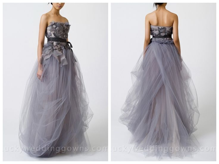 Luxury Grey Wedding Dress Strapless Tulle Ball Gown with Tucked Skirt