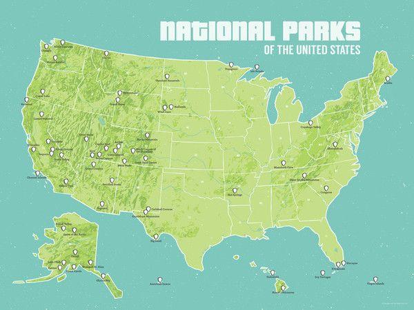 US National Parks Map Poster. Keep track of the parks we've visited.